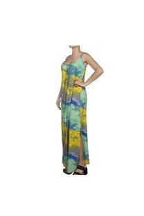 Vestido largo, diseño verde-amarillo con tajo en las piernas y tiritas regulables.  Talle: Único. -
