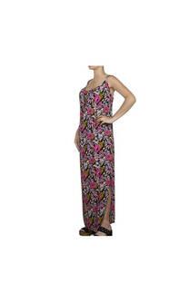 Vestido largo, diseño floreado con tajo en las piernas y tiritas regulables.  Talle: Único. -