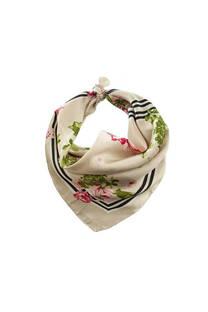 Pañuelo cuadrado de seda con diseño.  Medidas: 50 cm x 50 cm -