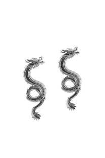 Aro colgante plateado de dragón  Medida: 6 cm