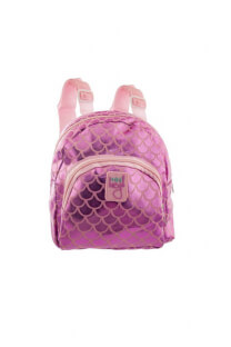 Mini mochila metalizada para niños con tiras regulables.  Medidas: 20 cm x 20 cm -