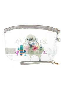 Portacosmético transparente con diseño de llama I LOVE YOU  y manija de agarre.  Medidas: 20 cm x 15 cm -
