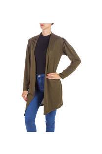 Saco largo de lanilla dama con hombros fruncidos. Color verde -