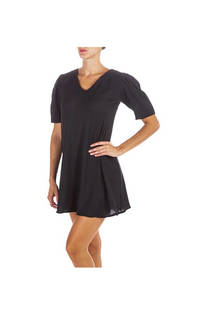 Vestido lino rayon liso dama, cuello en V con hombros fruncidos. Color negro  Talle único -