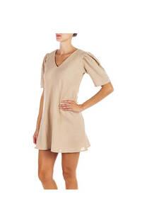 Vestido lino rayon liso dama, cuello en V con hombros fruncidos. Color beige  Talle único -