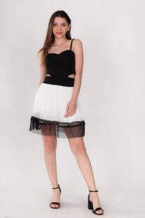 Vestido Crepe Falda TUL -
