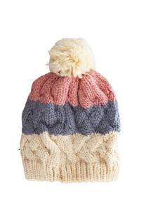 Gorro de lana trenzado tricolor con pompón -