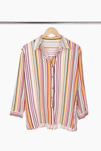 Camisa India rayada lino #4521 -