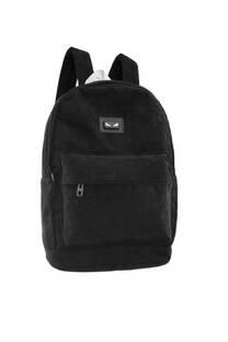 Mochila de corderoy con bolsillo externo porta notebook, bolsillo frontal, bolsillos laterales y tiras regulables.  -