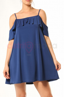 Vestido off shoulder doble volado -