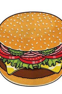 Toallon playero de algodón con forma de hamburguesa.  -