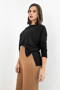Sweater combinado bolsillo falso -