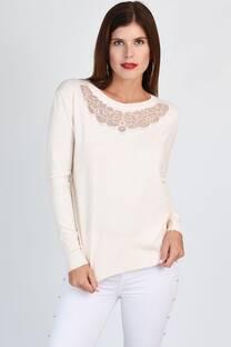 Sweater lycra con encaje bordado -