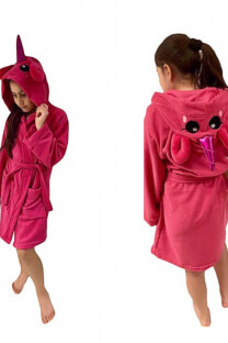 Bata infantil de toalla con capucha de unicornio   -