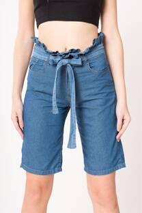 Bermuda de jean con lazo  -