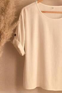 Blusa de lino con detalle en la manga -