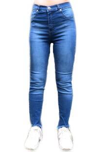 Pantalon chupin elastizado desflecado -