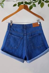 SHORT MOM AZUL LISO #KEIRA -