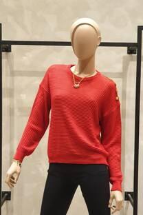 Sweater con botones en un hombro -