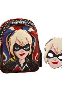 """Mochila DC Super hero girls diseño """"Harley Quinn"""" con máscara de regalo, impermeable reforzado y resistente, bolsillo frontal de amplio tamaño, laterales en red y tiras regulables.  -"""