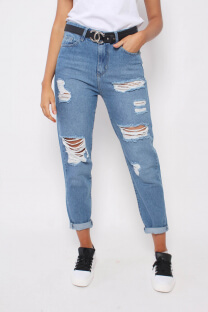 PANTALON JEAN MOM CON ROTURAS (TAESHA) -