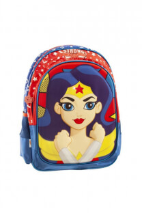 "Mochila DC Super hero girls diseño ""Mujer maravilla"" con luces de colores, bolsillo frontal de amplio tamaño, laterales en red y tiras regulables.  -"