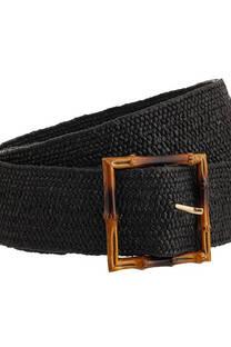 Cinto de rafia elastizada con hebilla de caña -