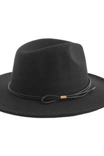 Sombrero de paño doble trenzado con moño -