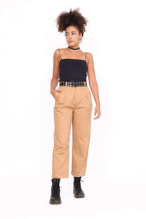 PANTALON GABARDINA RIGIDA CON DOBLE TABLA  -