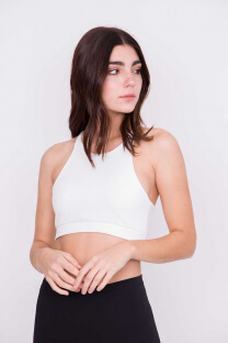 TOP ESCOTE HALTER ALTO MICROFIBRA DOBLE -