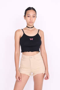 TOP MUSCULOSA ROULLETE MARIPOSA BORDADA -