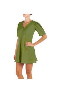 Vestido lino rayon liso dama, cuello en V con hombros fruncidos. Color verde militar  Talle único. -