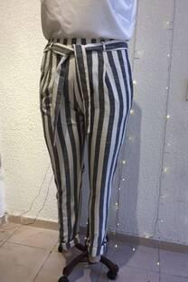 Pantalon de lino rayado -
