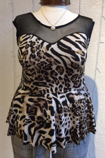 Top peplum animal print tricot -