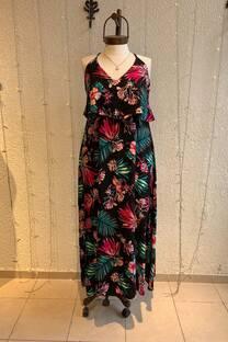 Vestido con volado tropical -