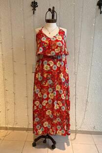 Vestido con volado floral -