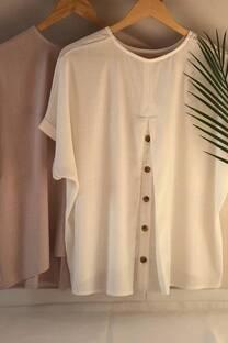 Blusa de lino con botones en la espalda -