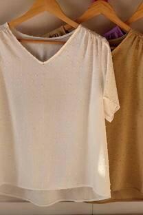Remera de lino plumety cuell V con frunce en la espalda -