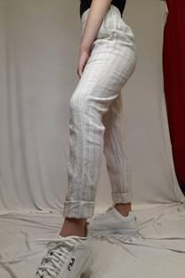 Pantalon lino rayado -