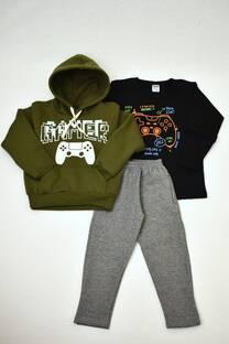 Promo pack buzo de friza niño+remera manga larga+pantalon de friza -