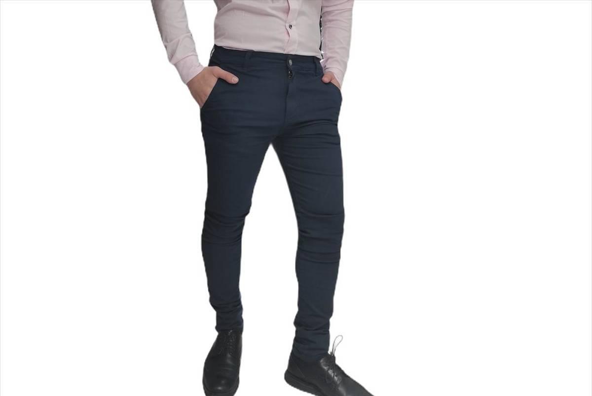 Pantalon Chino Azul Marino De Gabardina Distrito Moda